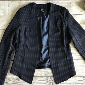 Forever 21 Navy Classic Open Front Blazer